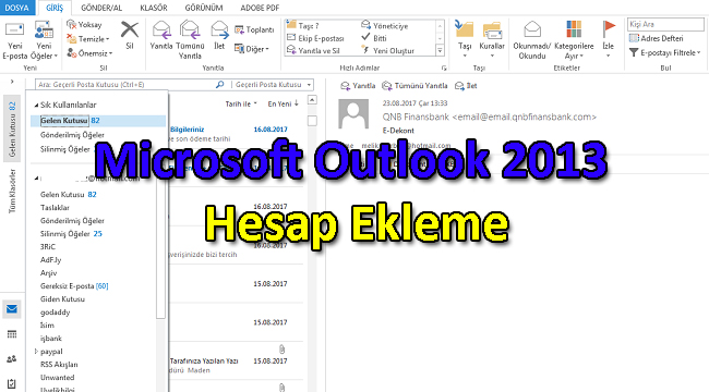 Microsoft Outlook 2013 Hesap Ekleme
