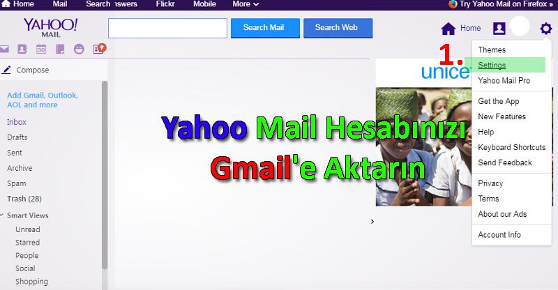 Yahoo Mail Hesabınızı Gmail'e Yönlendirin